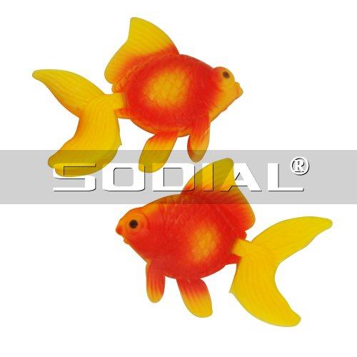 Sodial r 2 x poisson rouge artificiel en plastique orange for Bac plastique poisson rouge