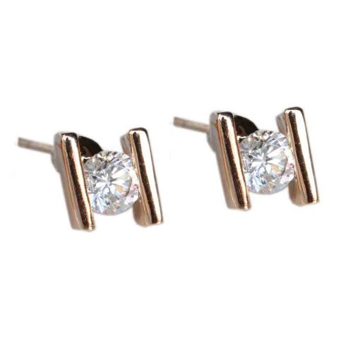 Fashion Plaza 18k Gold Plated Use Swarovski Crystal H Stud Earring