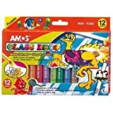 Amos Peelable Glass Paints & Stain Kit With Outliners Pk12