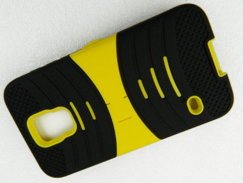 Mylife (Tm) Deep Dark Black And Vibrant Yellow - Shockproof Survivor Series (Built In Kickstand + Easy Grip Ridges) 2 Piece + 2 Layer Case For New Galaxy S5 (5G) Smartphone By Samsung (Internal Flex Silicone Bumper Gel + Internal 2 Piece Rubberized Fitted