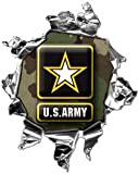 "Mini Ripped Torn Metal Decal US Army Green Camo - 2"" h - REFLECITVE"