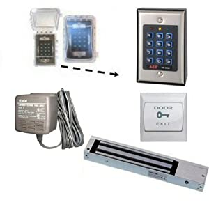 covered two relay digital keypad door entry set with 600lbs magnetic lock home. Black Bedroom Furniture Sets. Home Design Ideas