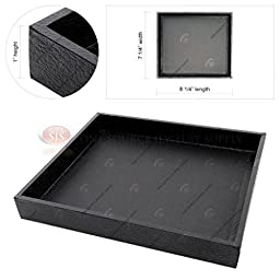 Black Wooden Square Display Sample Tray Covered Faux Leather Storage Organizer