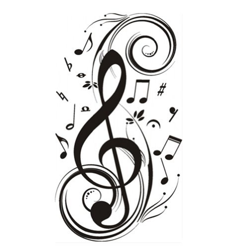 """23.6"""" X 47.2"""" Olivia Music Notes Wall Stickers Decals Diy Vinyl Removable Large Graphic Clef Wall Mural Decor Art For Teen Boys Girls Kids Children Bedroom Living Room Baby Nursery Home Decorations front-17377"""