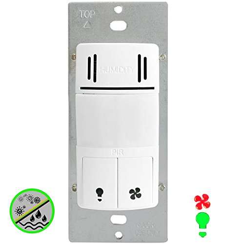 Enerlites DWHOS-W 2-in-1 Humidity Sensor and Motion Detector Switch controls Both Bathroom Fan and Light Independently, White (Motion Light Switch Fan compare prices)