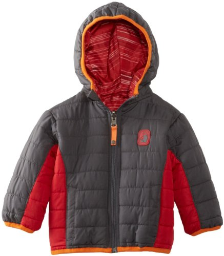 Rugged Bear Boys And Infants Colorblock Midweight Reversible Hooded Jacket - Charcoal (Size 4) front-1057718