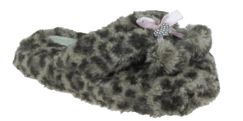 Cheap Capelli New York Leopard Printed Faux Fur Thong With Satin Bow Girls Indoor Slipper (B005MJYOKG)