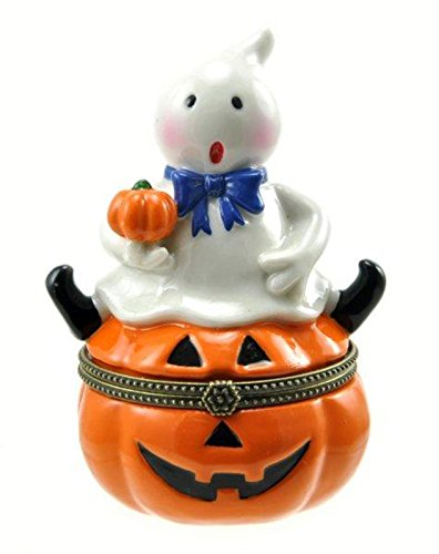 Ghost Sitting on Jack O Lantern Pumpkin Trinket Box