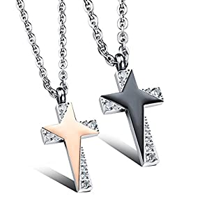 GOLDAYS Stars Personality Cross Titanium Steel Fashion Lovers Necklaces With Micro Inlay Ziron