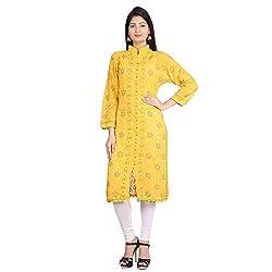 Indian Artizans Yellow Georgette Noorie Kurta With Chikankari