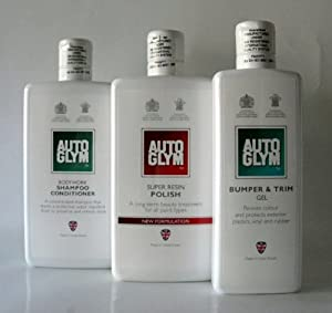 AutoGlym Bodywork Shampoo & Super Resin Polish 500ml & Bumper & Trim Gel 325ml by AutoGlym