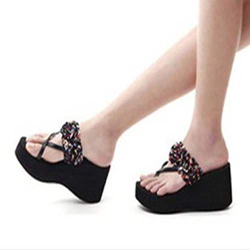 Creazy Women Summer Sandals Slipper Indoor Outdoor Flip-flops Beach Shoes (38, Black 6)