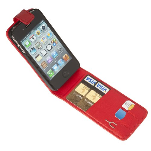 Fonerize Flip Leather Wallet / Card Case for iPhone 4 4S in Hot Red