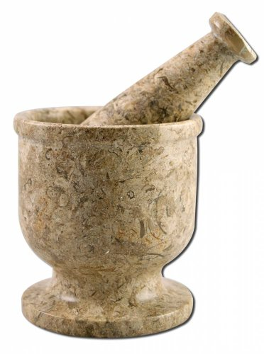 Mortar & Pestle Fossil Marble - 1 pc,(Nature's Artifacts)