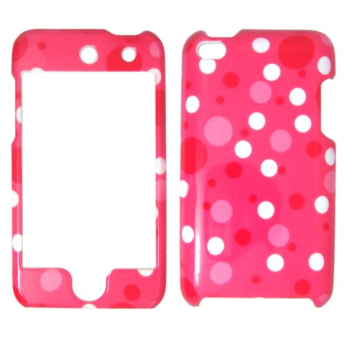 Apple iPod Touch 4 iTouch - Hot Pink and white polka dots on Pink Shinny Gloss Finish Hard Plastic Cover, Case, Easy Snap On, Faceplate.