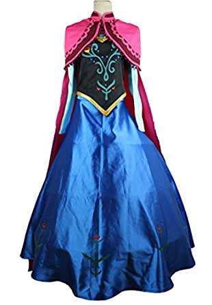 Halloween Women Ice Princess Snow Queen Anna Cosplay Costume Party Dress