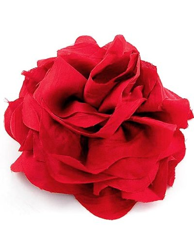 Red Fabric Flower Brooch Pin or Hair Accessory Fashion Jewelry