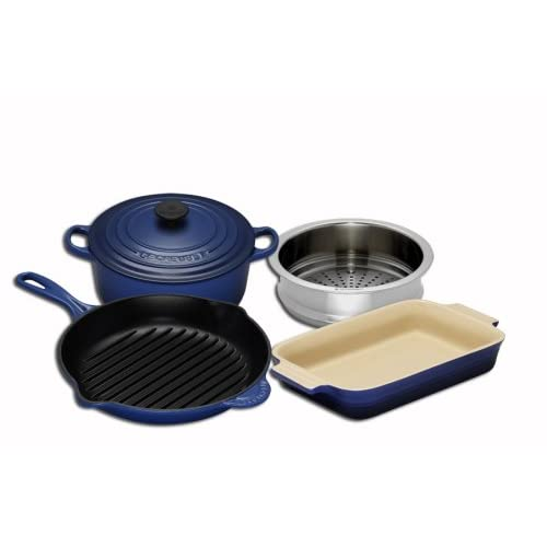 Le Creuset Cast Iron, Steamer and Stoneware Gift Set, 4 Piece,