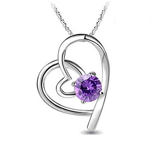 ladies swarovski element silver amethyst heart dolphin Penguin cat pendant necklace ,for women girls, (amethyst...