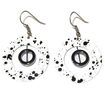 Hematite Earrings 03 Hoop Gemstone Cow Black White Circle Crystal Stone 2