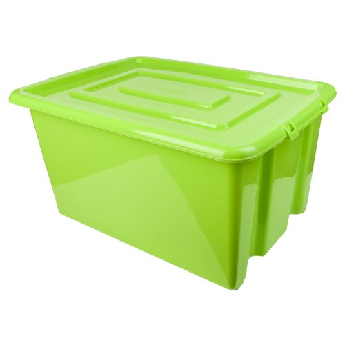 New Green Whitefurze Plastic Stackable Container Small Storage Box With Lid 14l