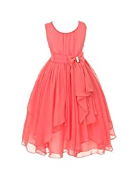 DressForLess Yoryu Chiffon Asymmetric Ruffled Flower Girl Dress , Coral, 4, (KK2040CO-4)