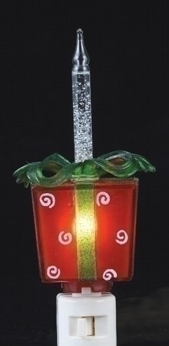 Whimsical Red Christmas Present with Swivel Plug Bubble Night Light