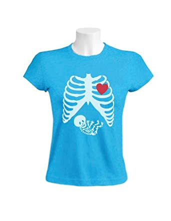 Green Turtle - Pregnant Skeleton Women Aqua Blue XX-Large T-Shirt