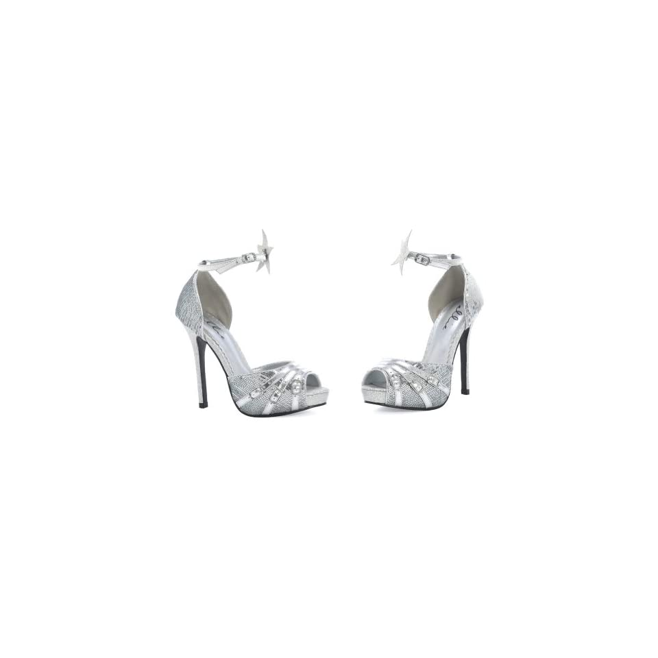 b8763a85ade 5 Inch High Heel Shoes Sexy Sandals Peep Toe Silver Sparkle Dorsay ...