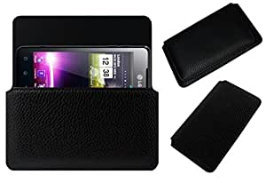 Acm Horizontal Leather Case For Lg Optimus 3D P275 Mobile Cover Carry Pouch Holder Black