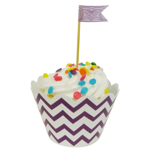 Wrapables Standard Size Chevron Cupcake Wrappers (Set of 20), Purple