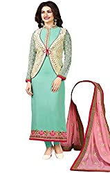 Justkartit Women's Semi-Stitched Green Colour Party Wear Stylish Salwar Kameez / Tie-Knot Koti (Jacket) Style Salwar Kameez With Beautiful Embroidery Work (With Original Pictures)