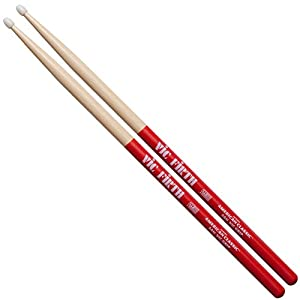 Vic Firth VF5ANVG 5A American Hickory Vic Grip Nylon Tip Drumsticks by Vic Firth