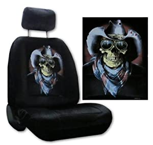 Seat Cover Connection Rebel Skull with Cowboy Hat print 2 Low Back Bucket Car Truck SUV Seat Covers with 2 Head Rest Covers - Black