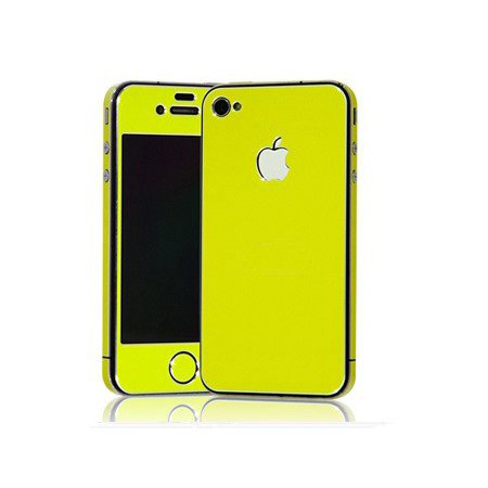 Apple Iphone 4/4S Aluminium Protective Sticker Skin Full Body Matte (Included Anti Finger Anti Glare Screen Protector Guard Film - 2 Pack) For Luxury Looks Diamond Cutting (Lime)