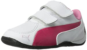 PUMA Drift Cat 5 V Leather Sneaker (Toddler/Little Kid),White Pink/Sachet Pink,10 M US Toddler
