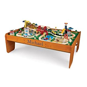 KidKraft Personalized Ride Around Train Table and Set with Blue Library - Michael