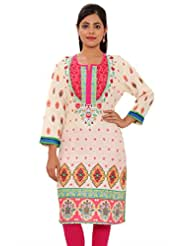 MSONS Womens Cream Base With Pink Yoke Multi Printed Long Rayon Kurti