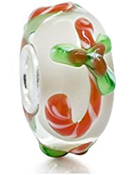 Christmas 3D Candy Cane Murano Glass 925 Sterling Silver Core Bead Fits Pandora Charm Bracelet