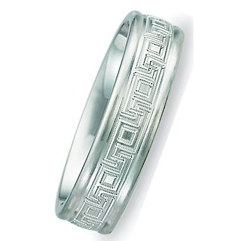 6.00 Millimeters Greek Key Wedding Band in 10Kt Gold, Comfort Fit Style SE164W, Finger Size 11¾