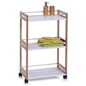 Simple CADIZ White Bathroom Shelf Drawer Storage Unit On Wheels By DMF