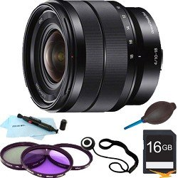 Sony SEL1018 10-18mm Wide-Angle Zoom Lens ESSENTIALS BUNDLE with 16GB SD Card, Multi Coated Laser Cut Filter Kit, Lens Cap Keeper, Lens Pen Cleaning Kit, Dust Blower