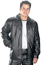 USA Leather Classic Mens Black Leather Hip Length Jacket - Small