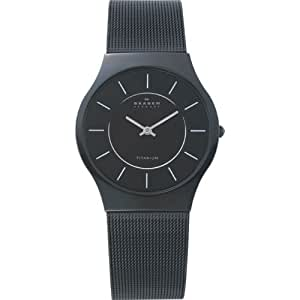 Skagen Men's 233LTMB Black Titanium Mesh Bracelet Watch