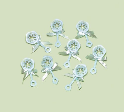 "Amscan Delightful Rattle Baby Shower Party Charm Decors/Favors 2-1/2"", 3.9 x 4.5"", Baby Blue"