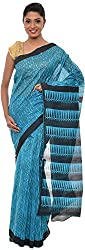 The Print Village Women's Cotton Silk Saree (Turquoise)
