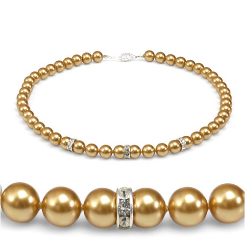 Genuine Swarovski Crystal Pearl Necklace with Rondelle - Gold (8mm)