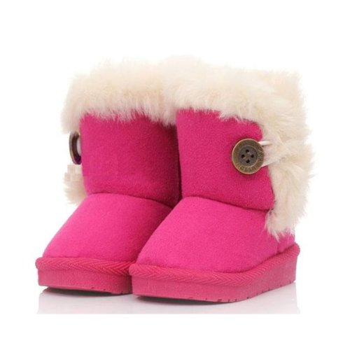 Age 2-3 Kids Girls Plush Soft Non-slip Winter Suede Boots Shoes NEW