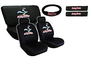 road runner 11pc full interior auto set low back seat covers bench steering wheel. Black Bedroom Furniture Sets. Home Design Ideas