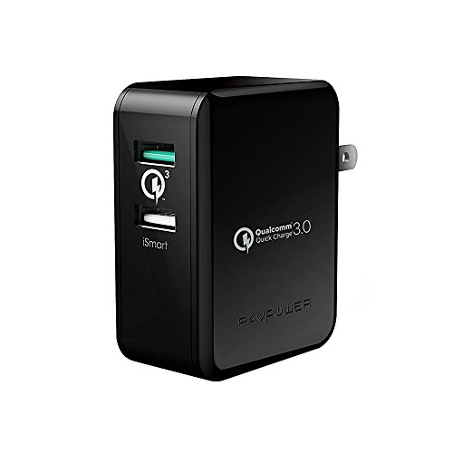 USB充電器 RAVPower 30W 2ポート Quick Charge 3.0 充電器 ( QC3.0 、 iSmart出力自動判別 、 急速充電 )Galaxy S7 / S6 / Edge / Edge Plus / Nexus 6 / iPhone /iPad スマホ タブレット モバイルバッテリー 等対応(ブラック)